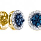 .25 CARAT BRILLIANT ROUND BLUE DIAMOND STUD HALO EARRINGS YELLOW GOLD