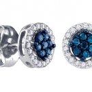 .25 CARAT BRILLIANT ROUND BLUE DIAMOND STUD HALO EARRINGS WHITE GOLD