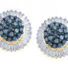 1 CARAT ROUND & BAGUETTE BLUE DIAMOND HALO STUD EARRINGS YELLOW GOLD