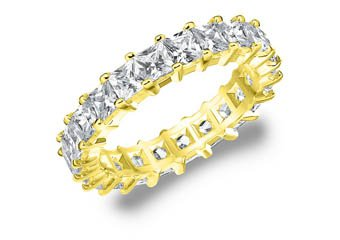 DIAMOND ETERNITY BAND WEDDING RING PRINCESS SQUARE YELLOW GOLD 3 CARAT PRONG SET