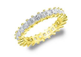 DIAMOND ETERNITY BAND WEDDING RING PRINCESS SQUARE CUT YELLOW GOLD 2 CARAT PRONG