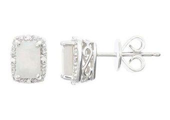.74 CARAT OPAL DIAMOND HALO STUD EARRINGS EMERALD CUT SILVER OCTOBER BIRTHSTONE