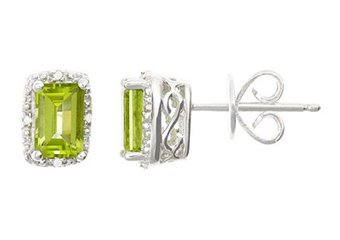 1.22CT PERIDOT DIAMOND HALO STUD EARRINGS EMERALD CUT SILVER AUGUST BIRTHSTONE