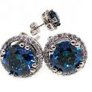 2.6 CARAT BLUE DIAMOND STUD HALO EARRINGS SOLITAIRE ROUND CUT WHITE GOLD