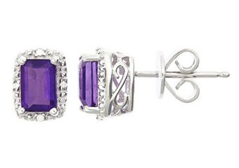 1.12CT AMETHYST DIAMOND HALO STUD EARRINGS EMERALD CUT SILVER FEBRUARY STONE