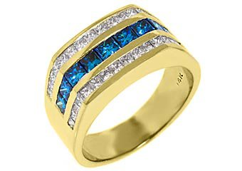 MENS 14KT YELLOW GOLD BLUE DIAMOND RING WEDDING BAND PRINCESS SQUARE CUT