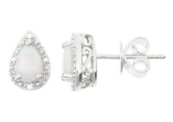 .46CT OPAL DIAMOND HALO STUD EARRINGS PEAR 6x4mm SILVER OCTOBER BIRTHSTONE