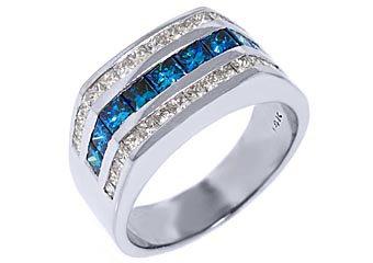 MENS 14KT WHITE GOLD BLUE DIAMOND RING WEDDING BAND PRINCESS SQUARE CUT