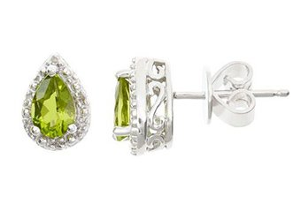 .92CT PERIDOT DIAMOND HALO STUD EARRINGS PEAR 6x4mm SILVER AUGUST BIRTHSTONE