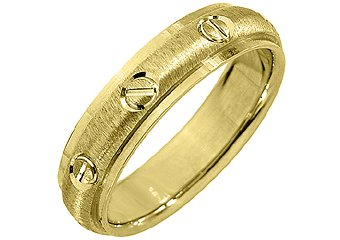 MENS WEDDING BAND ENGAGEMENT RING 14KT YELLOW GOLD SATIN FINISH 5mm