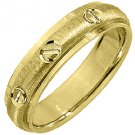 MENS WEDDING BAND ENGAGEMENT RING 14KT YELLOW GOLD SATIN FINISH 5mm