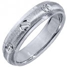MENS WEDDING BAND ENGAGEMENT RING 14KT WHITE GOLD SATIN FINISH 5mm