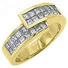 1.2CT WOMENS PRINCESS SQUARE CUT INVISIBLE DIAMOND RING WEDDING BAND YELLOW GOLD