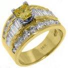 4 CARAT WOMENS FANCY YELLOW DIAMOND ENGAGEMENT RING PRINCESS CUT YELLOW GOLD