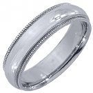 MENS WEDDING BAND ENGAGEMENT RING 14KT WHITE GOLD HIGH GLOSS FINISH 5mm