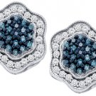 .75 CARAT BRILLIANT ROUND BLUE DIAMOND HALO STUD EARRINGS WHITE GOLD