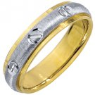 MENS WEDDING BAND ENGAGEMENT RING 14KT YELLOW WHITE TWO TONE GOLD 5mm