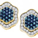.75 CARAT BRILLIANT ROUND BLUE DIAMOND HALO STUD EARRINGS YELLOW GOLD