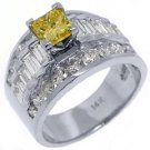 4 CARAT WOMENS FANCY YELLOW DIAMOND ENGAGEMENT RING PRINCESS CUT WHITE GOLD