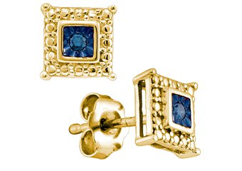 .05 CARAT SQUARE SHAPE BLUE DIAMOND STUD HALO EARRINGS 925 SILVER YELLOW