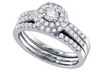 WOMENS DIAMOND ENGAGEMENT HALO RING WEDDING BAND BRIDAL SET ROUND CUT