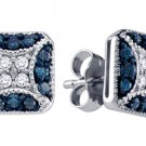 .50 CARAT BRILLIANT ROUND BLUE DIAMOND STUD EARRINGS WHITE GOLD