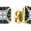.50 CARAT BRILLIANT ROUND BLUE DIAMOND STUD EARRINGS YELLOW GOLD