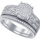 WOMENS DIAMOND ENGAGEMENT RING WEDDING BAND BRIDAL SET BRILLIANT ROUND CUT