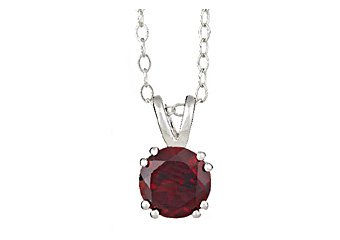 "1.6 CARAT GARNET BRILLIANT ROUND CUT PENDANT 7mm 925 SILVER w 18"" CHAIN"