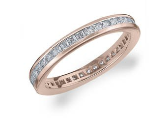 DIAMOND ETERNITY BAND WEDDING RING PRINCESS SQUARE CUT 14K ROSE GOLD 1.00 CARAT