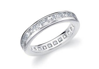 DIAMOND ETERNITY BAND WEDDING RING PRINCESS SQUARE CUT 14K WHITE GOLD 2.00 CARAT