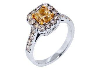 2 CARAT WOMENS FANCY YELLOW DIAMOND ENGAGEMENT RING PRINCESS CUT WHITE GOLD
