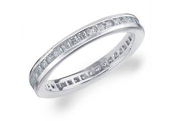 DIAMOND ETERNITY BAND WEDDING RING PRINCESS SQUARE CUT 14K WHITE GOLD 1.00 CARAT
