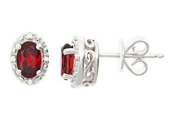 1.12CT GARNET DIAMOND HALO STUD EARRINGS OVAL 6x4mm SILVER JANUARY BIRTHSTONE