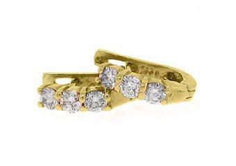 WOMENS 1.05 CARAT ROUND CUT 3 STONE DIAMOND HOOP EARRINGS YELLOW GOLD