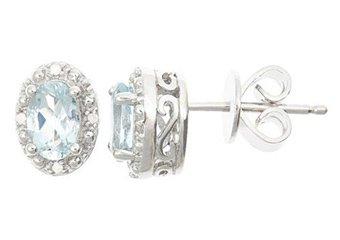 .82CT AQUAMARINE DIAMOND HALO STUD EARRINGS OVAL 6x4m SILVER NOVEMBER BIRTHSTONE