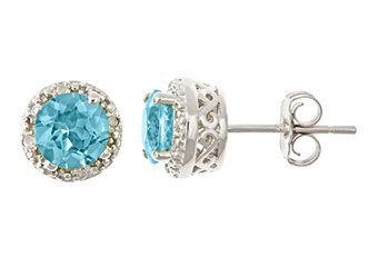 2CT BLUE TOPAZ DIAMOND HALO STUD EARRINGS 6mm ROUND SILVER DECEMBER BIRTH STONE