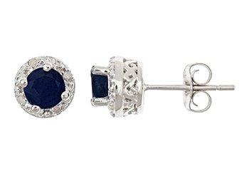 1.4 CARAT SAPPHIRE DIAMOND HALO STUD EARRINGS 5mm ROUND SILVER SEPTEMBER STONE