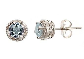 .85CT AQUAMARINE DIAMOND HALO STUD EARRINGS 5mm ROUND SILVER NOVEMBER BIRTHSTONE