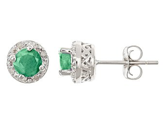 .99 CARAT EMERALD DIAMOND HALO STUD EARRINGS 5mm ROUND 925 SILVER MAY BIRTHSTONE