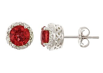 2CT GARNET DIAMOND HALO STUD EARRINGS 6mm ROUND 925 SILVER JANUARY BIRTHSTONE