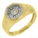 MENS .52 CARAT DIAMOND PINKY RING BRILLIANT ROUND CUT 14KT YELLOW GOLD
