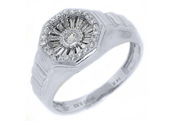MENS .52 CARAT DIAMOND PINKY RING BRILLIANT ROUND CUT 14KT WHITE GOLD