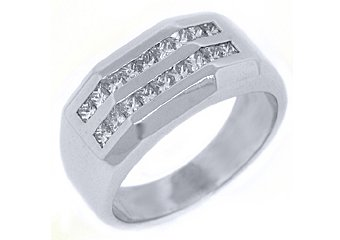 MENS 1.5 CARAT PRINCESS SQUARE CUT DIAMOND RING WEDDING BAND 14KT WHITE GOLD