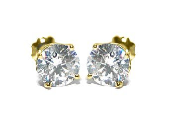 2 CARAT BRILLIANT ROUND CUT DIAMOND STUD EARRINGS 14K YELLOW GOLD SI3