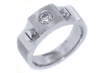 MENS .46 CARAT SOLITAIRE ROUND CUT DIAMOND RING WEDDING BAND 14KT WHITE GOLD