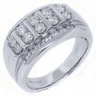 MENS 1.53 CARAT BRILLIANT ROUND CUT DIAMOND RING WEDDING BAND 14KT WHITE GOLD