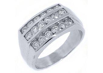 MENS 2.25 CARAT BRILLIANT ROUND CUT DIAMOND RING WEDDING BAND 14KT WHITE GOLD