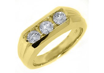 MENS 1 CARAT 3 STONE BRILLIANT ROUND CUT DIAMOND RING WEDDING BAND YELLOW GOLD