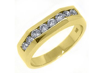 MENS 2/3 CARAT BRILLIANT ROUND CUT DIAMOND RING WEDDING BAND 14KT YELLOW GOLD